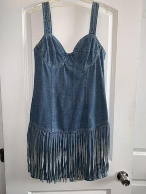 Vintage spaghetti strap fringe denim dress: SIZE 10 for Sale in Decatur, GA