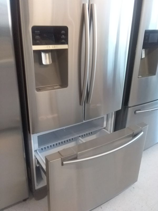Samsung French doors stainless steel refrigerator used good condition 90days warranty