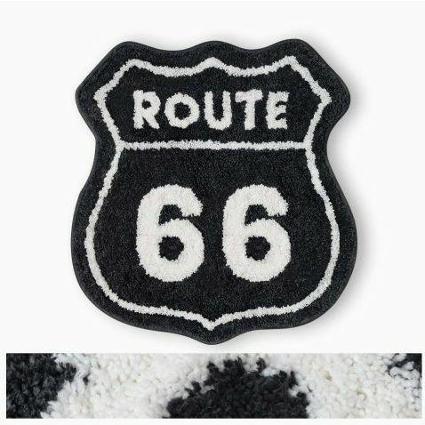 Bath Mat Black White Route 66