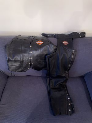 Harley Davidson leather chaps and vest for Sale in Baton Rouge, LA