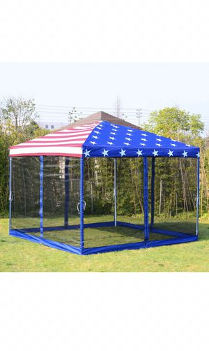 10'x10' Outdoor Patio Easy Pop Up Party Tent Gazebo Canopy Mesh American Flag for Sale in Blue Island, IL