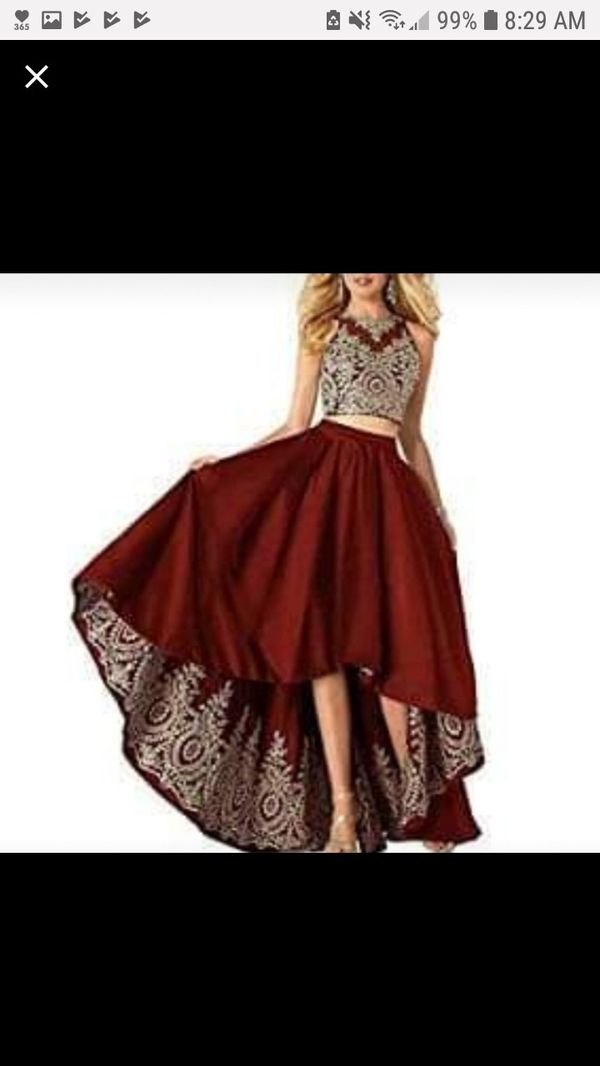 Maroon and gold two piece