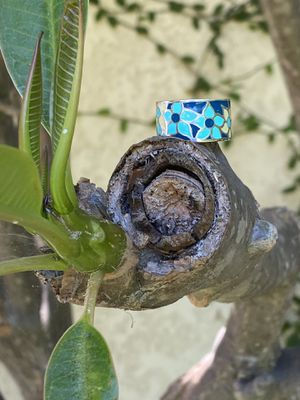 Thick flowered enamel sterling silver ring for Sale in Long Beach, CA