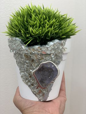 Faux succulent with crystal embellished planter for Sale in Palm Desert, CA