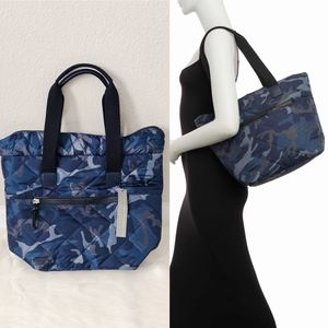 ✨New SR SQUARED By SONDRA ROBERTS Quilted Camouflage Nylon Tote Bag Blue for Sale in Conroe, TX