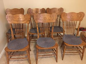 Antique Oak Pressed Back Spindle Chairs for Sale in Littleton, CO