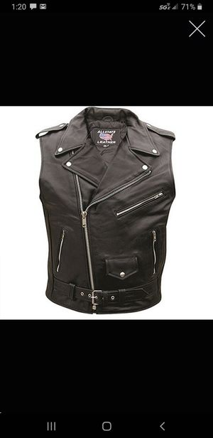 Real Leather Zip Up 2XL//Motorcycle Vest Mens Leather Sleeveless Biker Jacket 44 for Sale in Las Vegas, NV