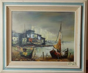 Fishing wharf scene oil painting ocean boat for Sale in Chicago, IL