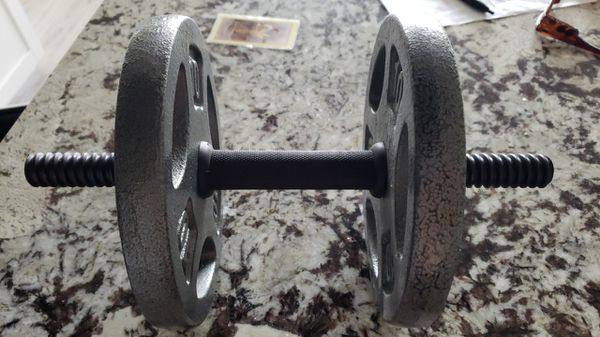 Two 10 lbs Weight Plates and Curl Bar $13 each