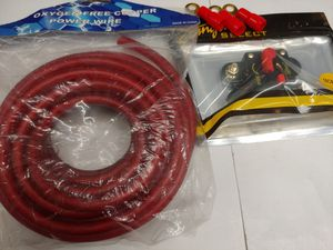 Car audio accessories : 200 a circuit breaker & 20 feet 4 gauge OFC ( oxygen free copper ) power cable & 3 ring terminals brand new for Sale in Bell Gardens, CA