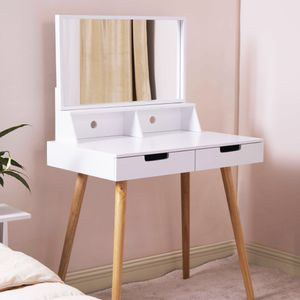 Organizedlife Vanity Dressing Table Dressing Mirror with 2 Makeups Drawers,White for Sale in Whittier, CA