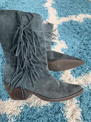 Blue leather Carlos Santana fringe boots for Sale in Brea, CA
