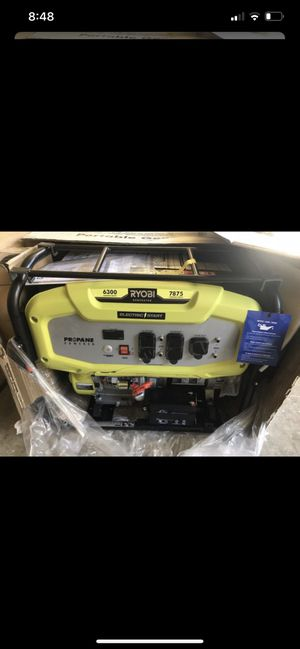 Open box brand new ryobi 6300 running watts electric start propane generator as is has crack brand new though 500 no less for Sale in Plant City, FL