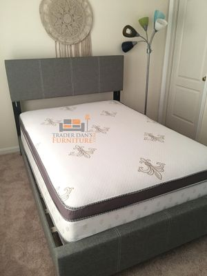 Brand New Full Size Grey Linen Upholstered Platform Bed + Pillowtop Mattress for Sale in Silver Spring, MD