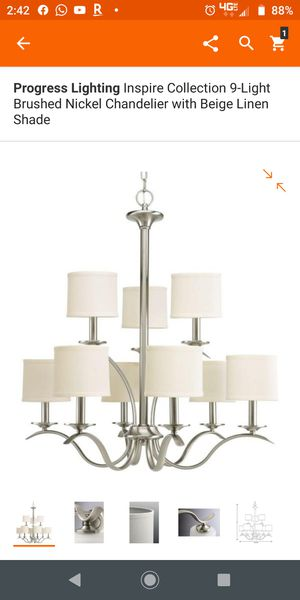 9 lights,,, brushed nickel chandelier for Sale in Grand Prairie, TX