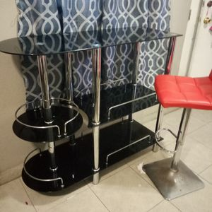 A Black Glass Bar With One Red Bar Stool for Sale in Long Beach, CA
