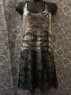 Arden B Bebe Sheer Silver Copper Sequin Mini Dress Tunic Racerback XS for Sale in Annandale,  VA