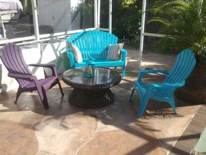 Outdoor furniture set 2 chairs 1 bench chair wicker glass top coffee table for Sale in Pompano Beach, FL