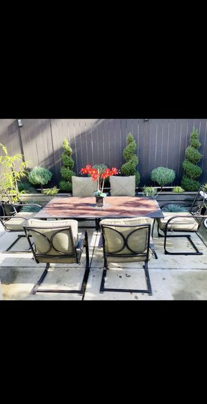 7 Pieces Outdoor Patio Furniture Set (6 Chairs with new cushions + Tile Top Table) for Sale in Newcastle, WA