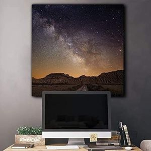 ((FREE SHIPPING)) road leading to the mountains with a starry galaxy behind them - canvas art home decor Painting like print for Sale in Redwood City, CA