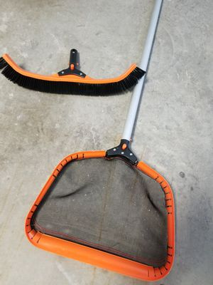Pool cleaner nylon bristle scrub brush and leaf skimmer with long pole for Sale in Grand Prairie, TX