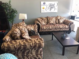 Wood front sofa & love seat for Sale in Phoenix, AZ