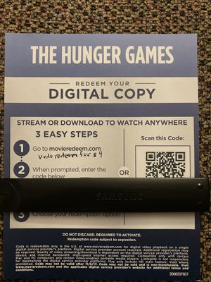 The hunger games 4K digital movie code for Sale in Lynwood, CA