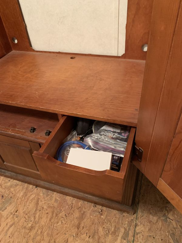 Wood armoire dresser TV stand