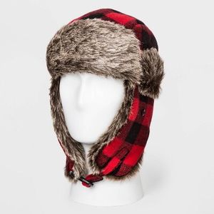 Men's Buffalo Plaid Faux Fur Trapper Hat - Goodfellow & Co™ Red One Size for Sale in Huntington Beach, CA