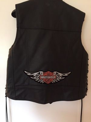 All leather motorcycle vest with patch large for Sale in Lacey Township, NJ