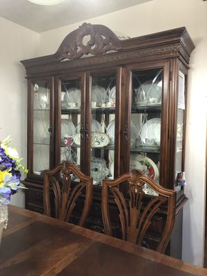 Two bedroom set, dining table set with China, kitchen table with for chair, living room set with show case and two love seat( free) for Sale in Philadelphia, PA