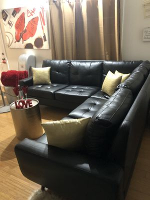 Black Faux Leather Sectional for Sale in Boston, MA