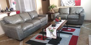 Gray leather sofa and loveseat like new conditions 9 months old super comfortable pet and smoke free for Sale in Escondido, CA
