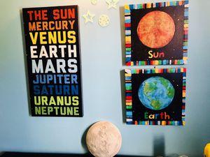 Kids room decor canvas art and moon light for Sale in Alexandria, VA