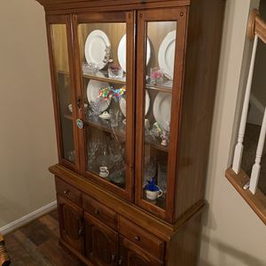 Hutch, Tv Stand, Separate Lighted Collectible Case, It's All Three! for Sale in Frederick, MD