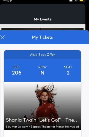Shania Twain Las Vegas tickets 3/28 for Sale in Los Angeles, CA