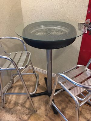 Motorcycle wheel cafe table with 2 polished aluminum stools for Sale in Escondido, CA