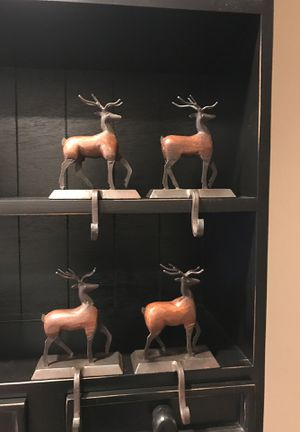 Vintage bronze/iron and wood standing reindeer Christmas stocking holders (6 available) for Sale in Newberg, OR