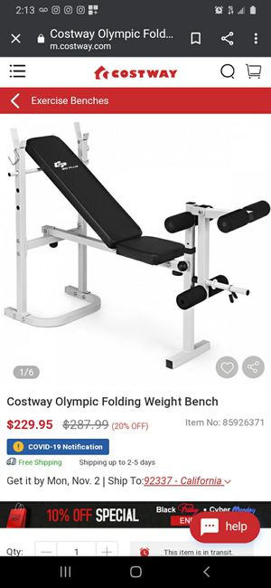 New Costway Olympic Folding Weight Bench for Sale in Norwalk, CA