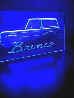 FORD BRONCO TRUCK LED NEON BLUE LIGHT SIGN 8x12 for Sale in La Mirada,  CA