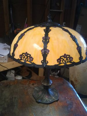 French Vintage 1930's hand painted slag glass lamp for Sale in Portland, OR
