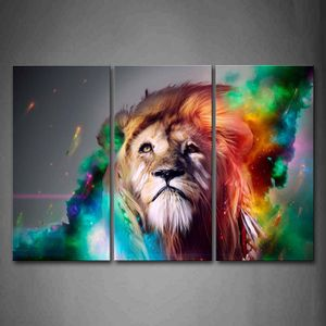 Large Cosmic Colorful Lion With Flowing Mane Canvas Wall Art for Sale in Hemet, CA