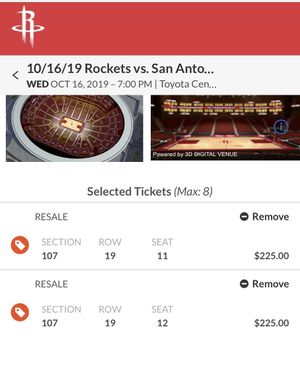 HOUSTON ROCKETS VS SAN ANTONIO SPURS (preseason) tickets for Sale in Katy, TX