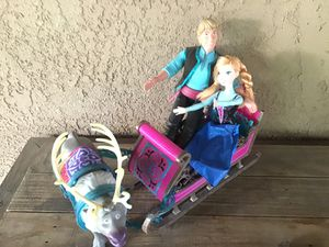 Disney combo deal great condition Frozen dolls with reindeer sleigh 🛷 $12 for Sale in Riverbank, CA