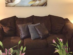 Chocolate Brown Faux Suede Couch for Sale in UPR MARLBORO, MD