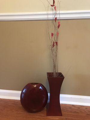Set of 2 vases with flowers for Sale in Duluth, GA