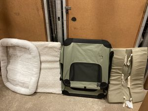 Large canvas dog crate with bumpers and pads like new for Sale in Arlington, VA