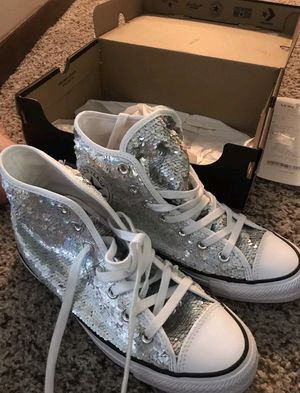 Converse Silver Sequin High Top for Sale in MD CITY, MD
