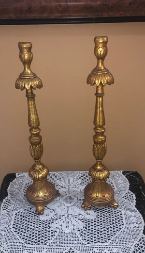 """PAIR OF 18 """" TALL GOLD LEAF CANDLE HOLDERS for Sale in Parkland, FL"""