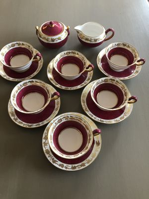 6 Antique Cup and Saucers with Creamer and Sugar Bowl for Sale in Gresham, OR